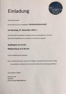 Vereinsmeisterschaft 2019 @ Sporthalle der Wingertsbergschule